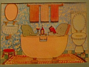 the real elegant elephants in tub print that graces our master bath